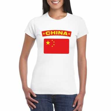 T-shirt wit china vlag wit dames