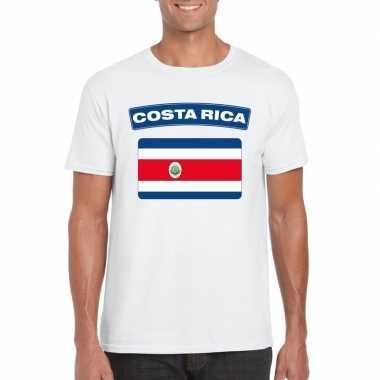 T-shirt wit costa rica vlag wit heren
