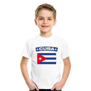 T-shirt wit cuba vlag wit jongens en meisjes