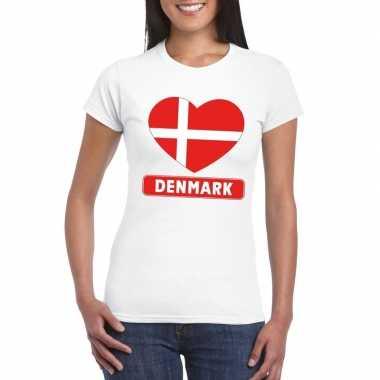 T-shirt wit denemarken vlag in hart wit dames