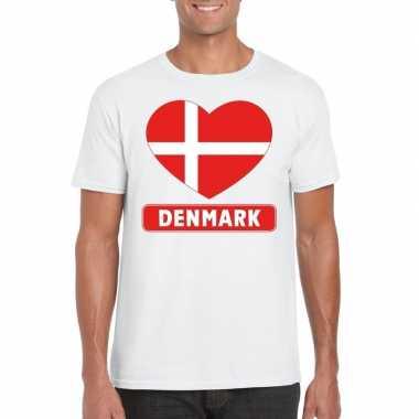 T-shirt wit denemarken vlag in hart wit heren