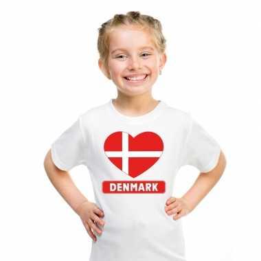 T-shirt wit denemarken vlag in hart wit kind