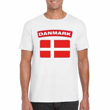 T-shirt wit denemarken vlag wit heren