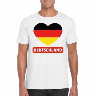 T-shirt wit duitsland vlag in hart wit heren