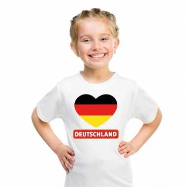 T-shirt wit duitsland vlag in hart wit kind