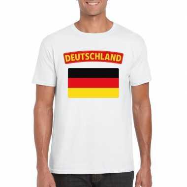 T-shirt wit duitsland vlag wit heren