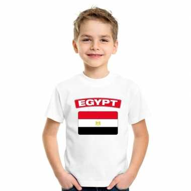 T-shirt wit egypte vlag wit jongens en meisjes