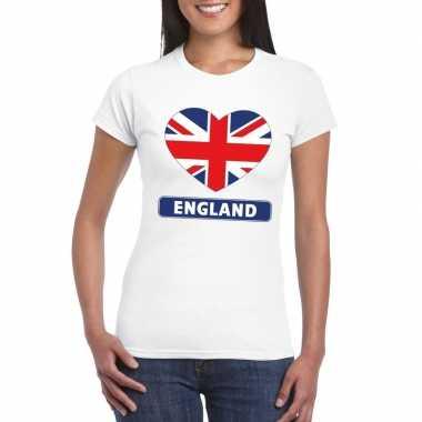 T-shirt wit engeland vlag in hart wit dames