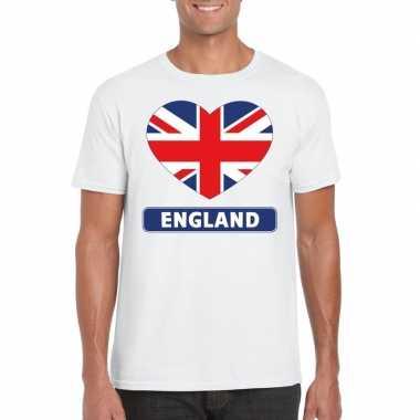 T-shirt wit engeland vlag in hart wit heren