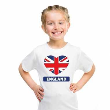T-shirt wit engeland vlag in hart wit kind
