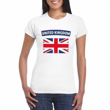 T-shirt wit engeland vlag wit dames