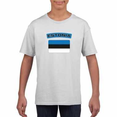 T-shirt wit estland vlag wit jongens en meisjes