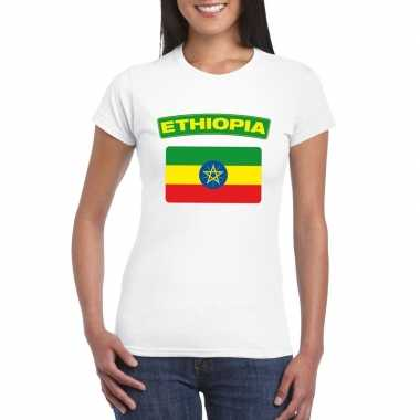 T-shirt wit ethiopie vlag wit dames