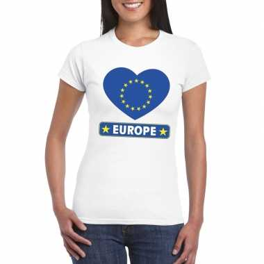 T-shirt wit europa vlag in hart wit dames
