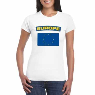 T-shirt wit europa vlag wit dames