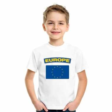T-shirt wit europa vlag wit jongens en meisjes