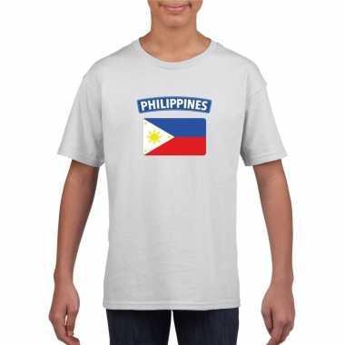 T-shirt wit filipijnen vlag wit jongens en meisjes