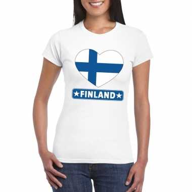 T-shirt wit finland vlag in hart wit dames
