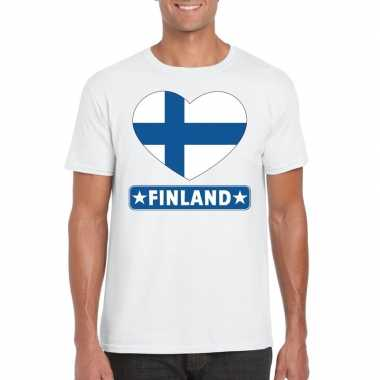 T-shirt wit finland vlag in hart wit heren