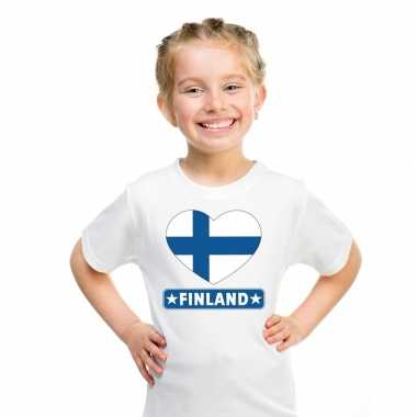 T-shirt wit finland vlag in hart wit kind