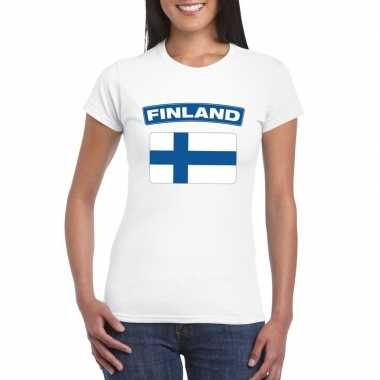 T-shirt wit finland vlag wit dames