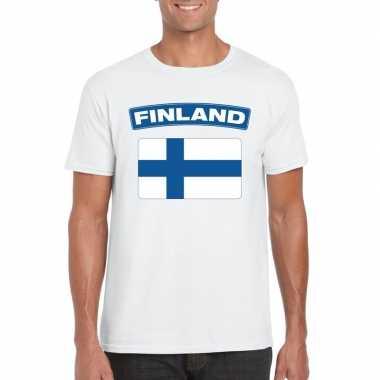 T-shirt wit finland vlag wit heren