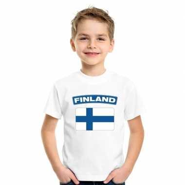 T-shirt wit finland vlag wit jongens en meisjes