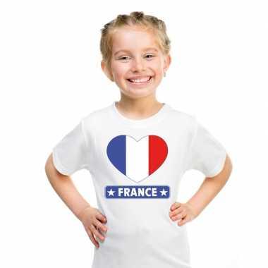 T-shirt wit frankrijk vlag in hart wit kind