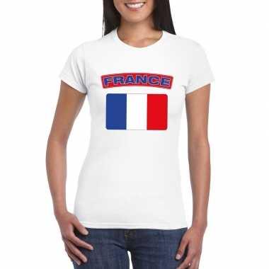 T-shirt wit frankrijk vlag wit dames