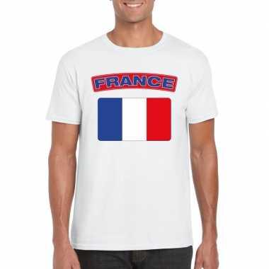 T-shirt wit frankrijk vlag wit heren