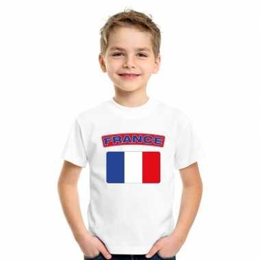 T-shirt wit frankrijk vlag wit jongens en meisjes