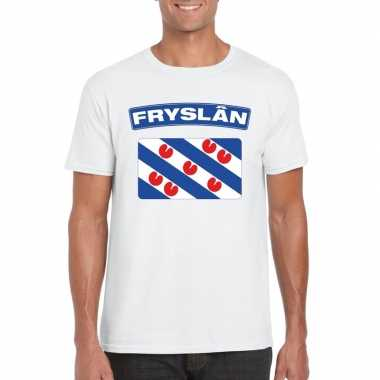 T-shirt wit friesland vlag wit heren
