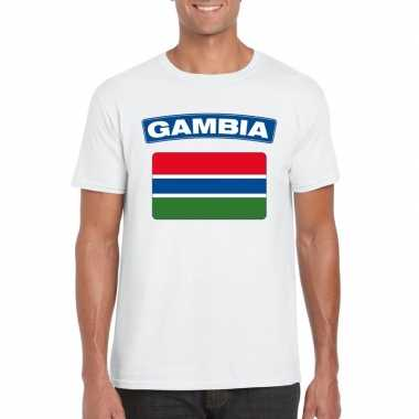 T-shirt wit gambia vlag wit heren