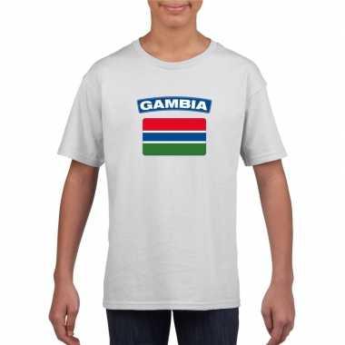 T-shirt wit gambia vlag wit jongens en meisjes