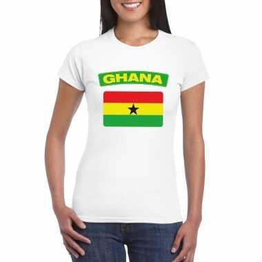 T-shirt wit ghana vlag wit dames
