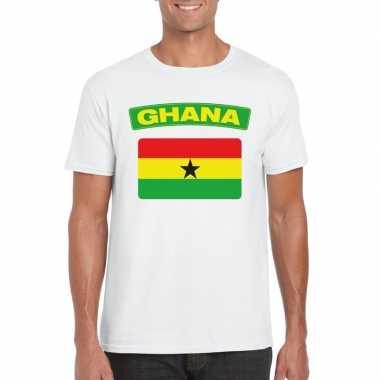 T-shirt wit ghana vlag wit heren
