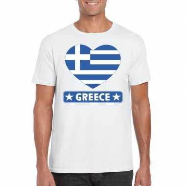 T-shirt wit griekenland vlag in hart wit heren