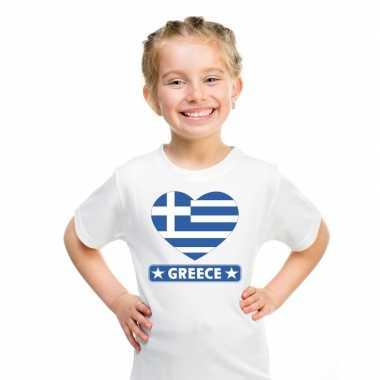 T-shirt wit griekenland vlag in hart wit kind