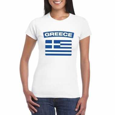 T-shirt wit griekenland vlag wit dames