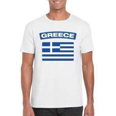 T-shirt wit griekenland vlag wit heren