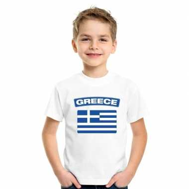 T-shirt wit griekenland vlag wit jongens en meisjes