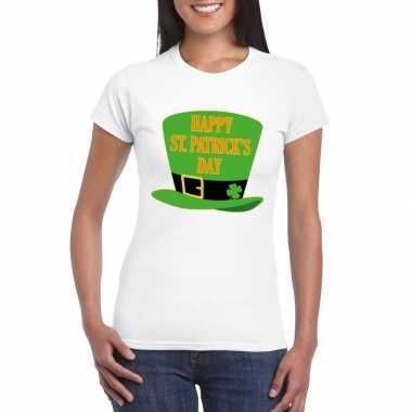 T-shirt wit happy st. patricksday wit dames