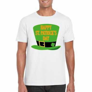 T-shirt wit happy st. patricksday wit heren
