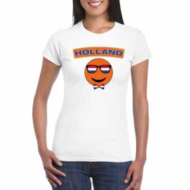 T-shirt wit holland smiley wit dames