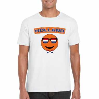 T-shirt wit holland smiley wit heren