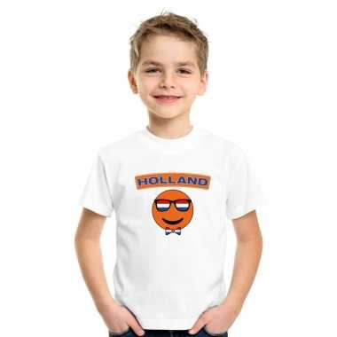 T-shirt wit holland smiley wit kinderen