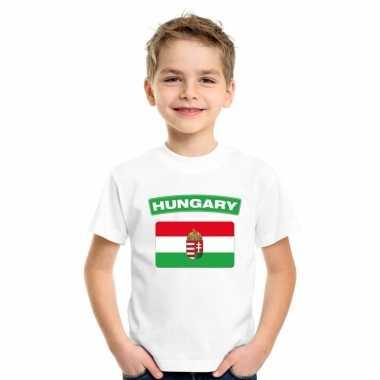 T-shirt wit hongarije vlag wit jongens en meisjes