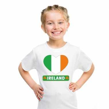 T-shirt wit ierland vlag in hart wit kind