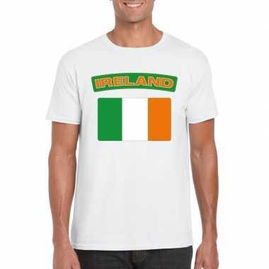 T-shirt wit ierland vlag wit heren