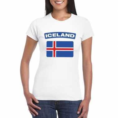 T-shirt wit ijsland vlag wit dames